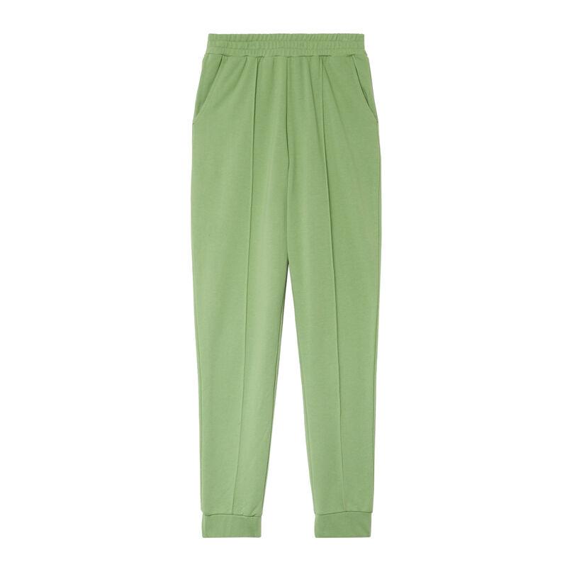 broek met geplooide taille en stikseldetail - groen;