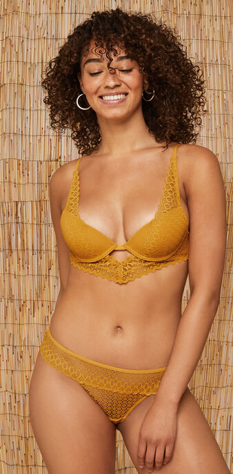 Soutien-gorge bustier push jaune moutarde kensiz yellow.