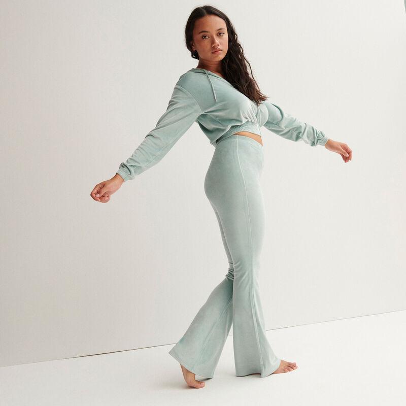 fluwelen broek met hoge taille en knoopsluiting - zeegroen;