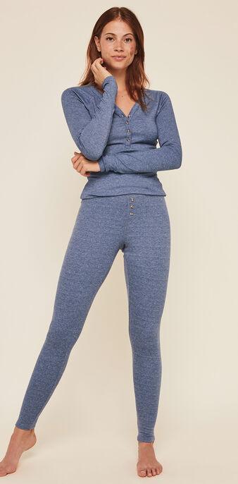Top à manches longues cotelé uni minimimiz bleu gris.