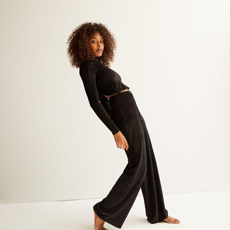 rechte broek met hoge taille - zwart;