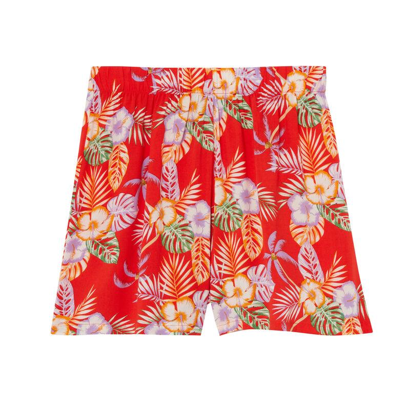 satijnen short met tropische bloemen - rood;
