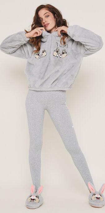 Legging en jersey print panpan panpaniz gris.
