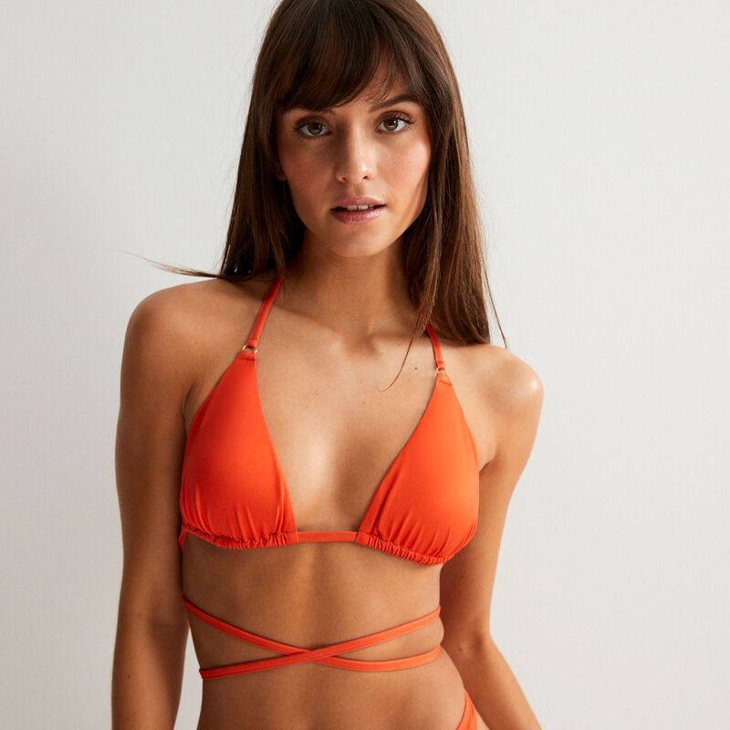 Dubbele tour bikinitopje triangelvorm - rood;