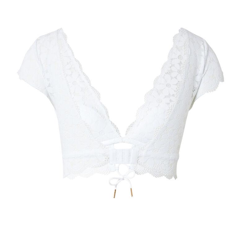 kanten sportbeha met schouders - wit;