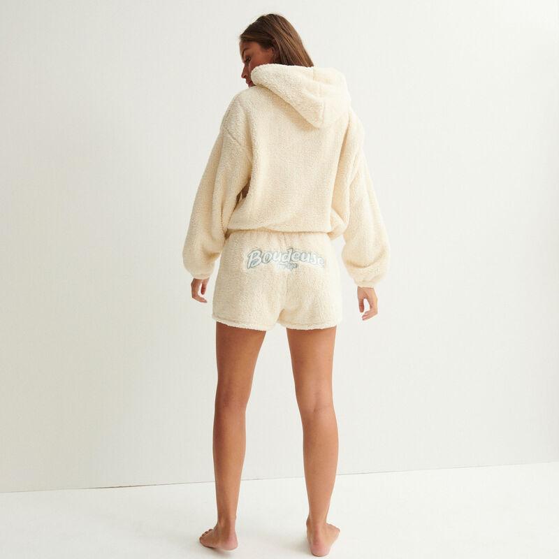 """fleece short """"boudeuse for life"""" - gebroken wit;"""