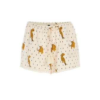 Short beige tigroupiz white.