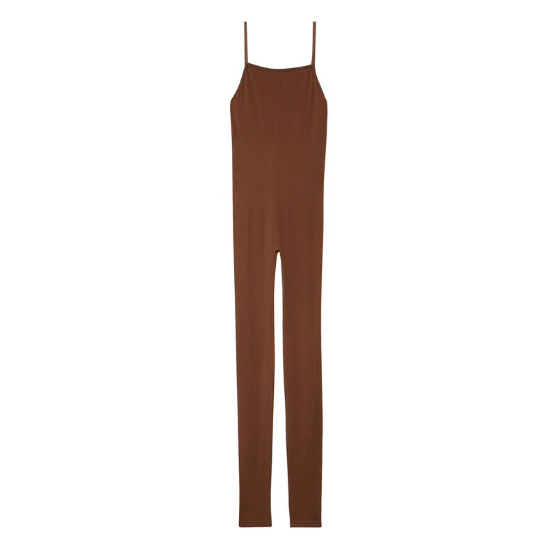 geribde jumpsuit - bruin;