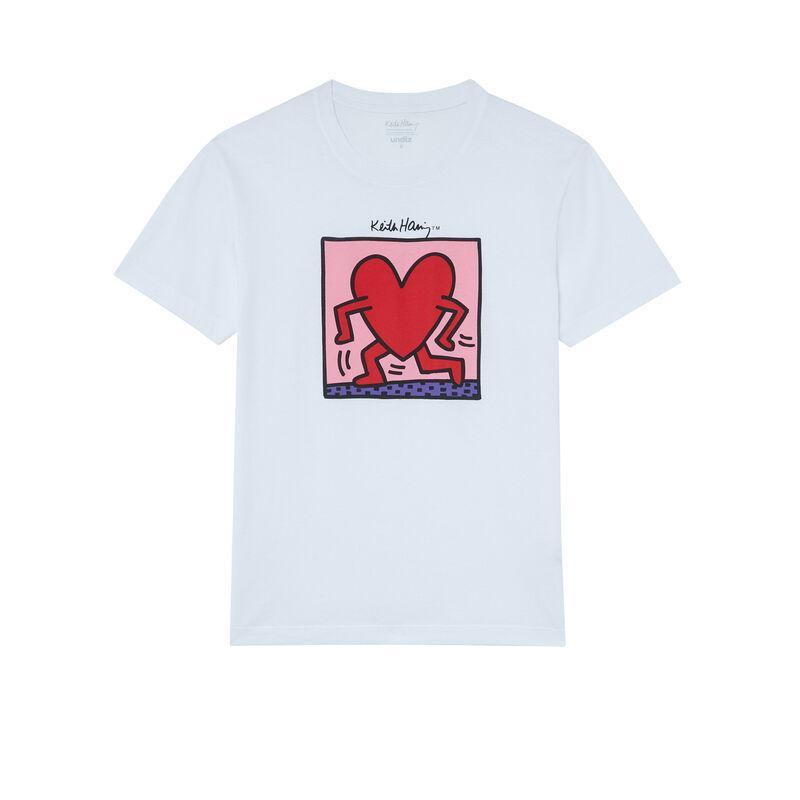 top met Keith Haring hartenprint - wit;