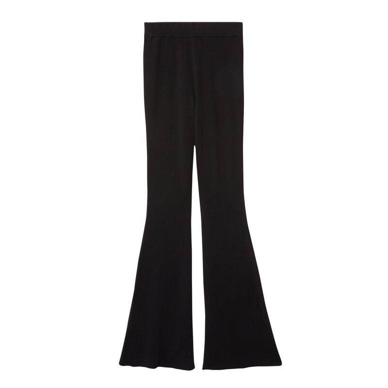 tricot flare broek - zwart;