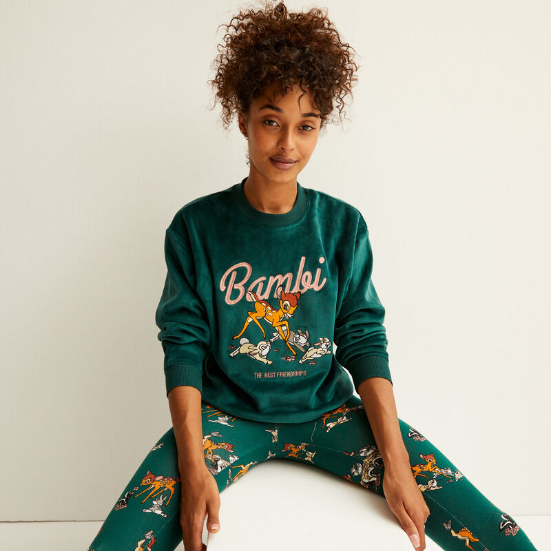 fleece sweater met bambi-print - dennengroen;