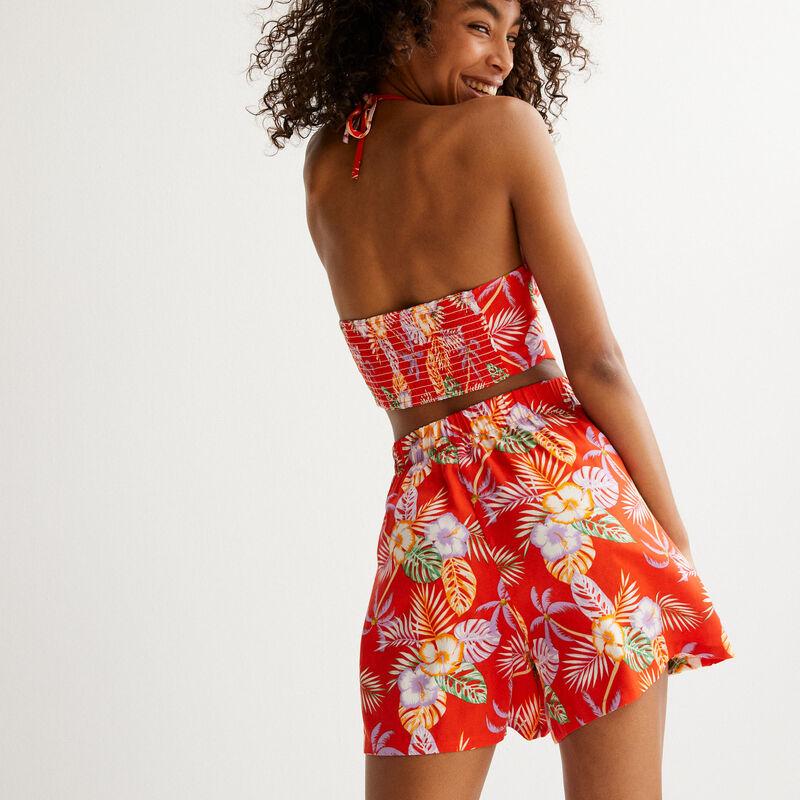 satijnen top met open rug en tropische bloemen - rood;