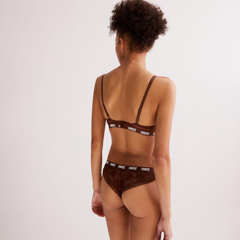 tanga en dentelle et résille détail élastique - marron;