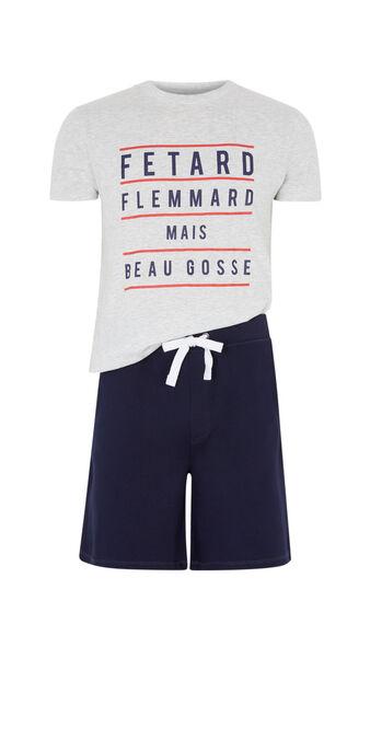 Set pyjama a message fletardiz gris clair.