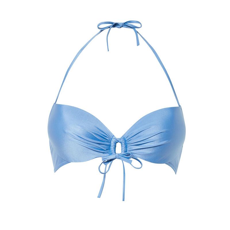 push up satijnen bikinitop  met detail in het decolleté - blauw;