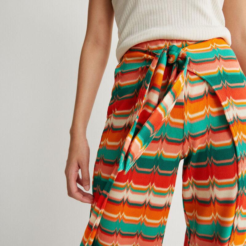 broek met motief en strik - groen;