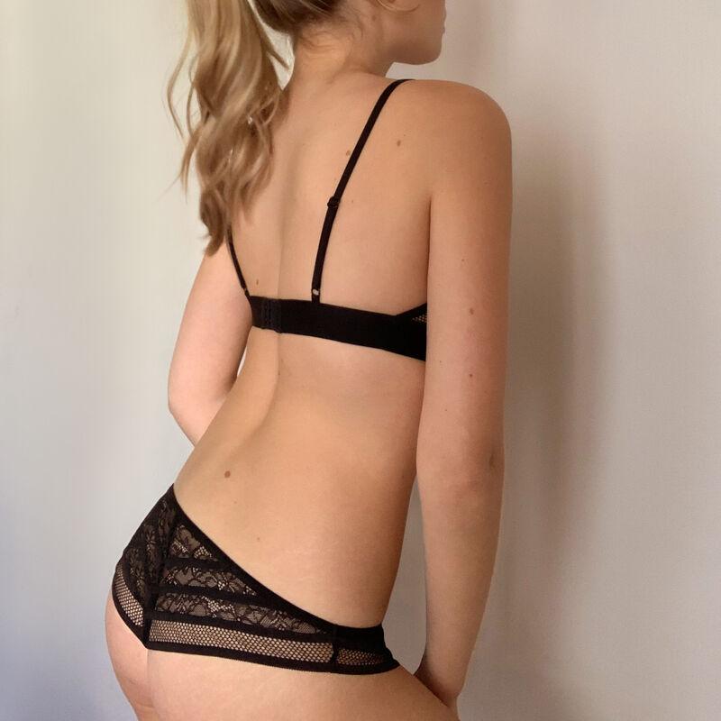 Soutien-gorge triangle dentelle - noir;