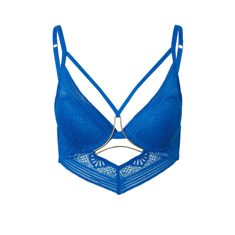 push-up beha met bandjes en sieraad - blauw;
