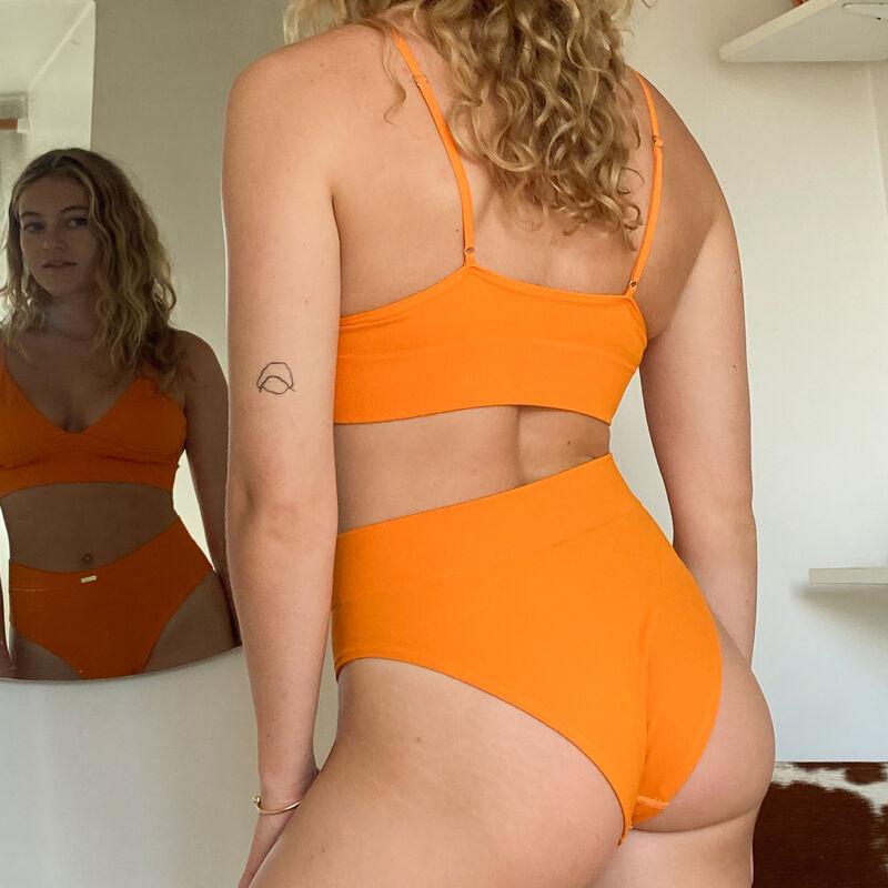 geribde slip met hoge taille en accent - oranje;
