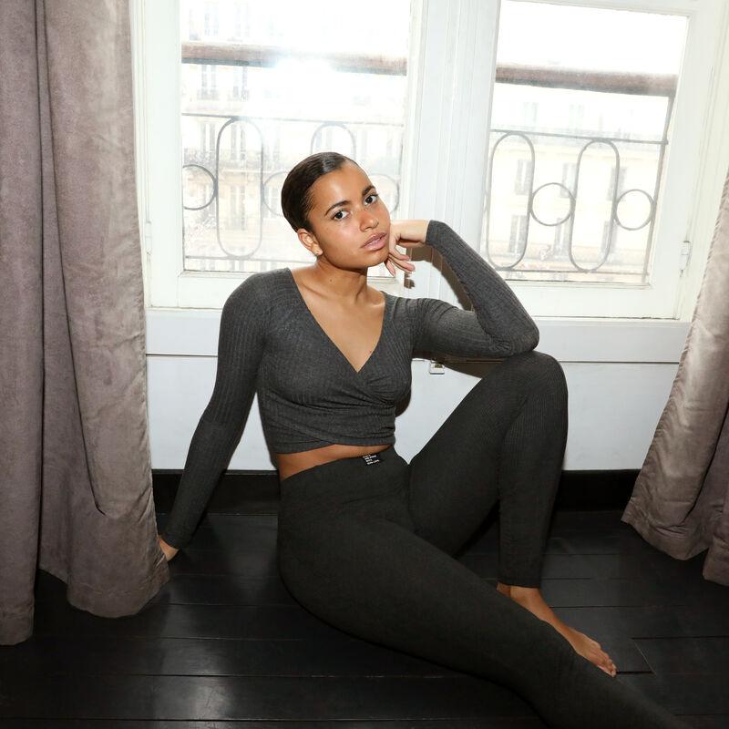 comfy legging met 100% love boodschap - donkergrijs;