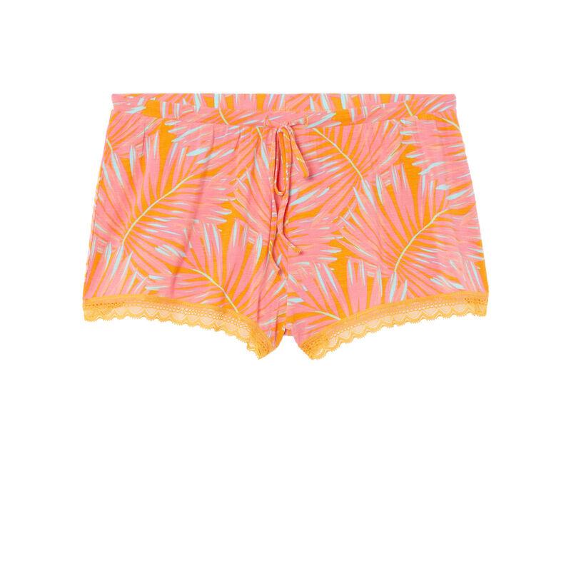 short à imprimé tropical en jersey - mangue;