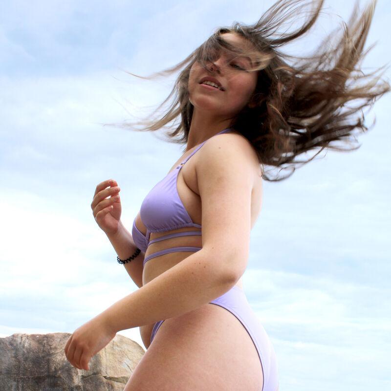 Dubbele tour bikinitopje triangelvorm - lila;