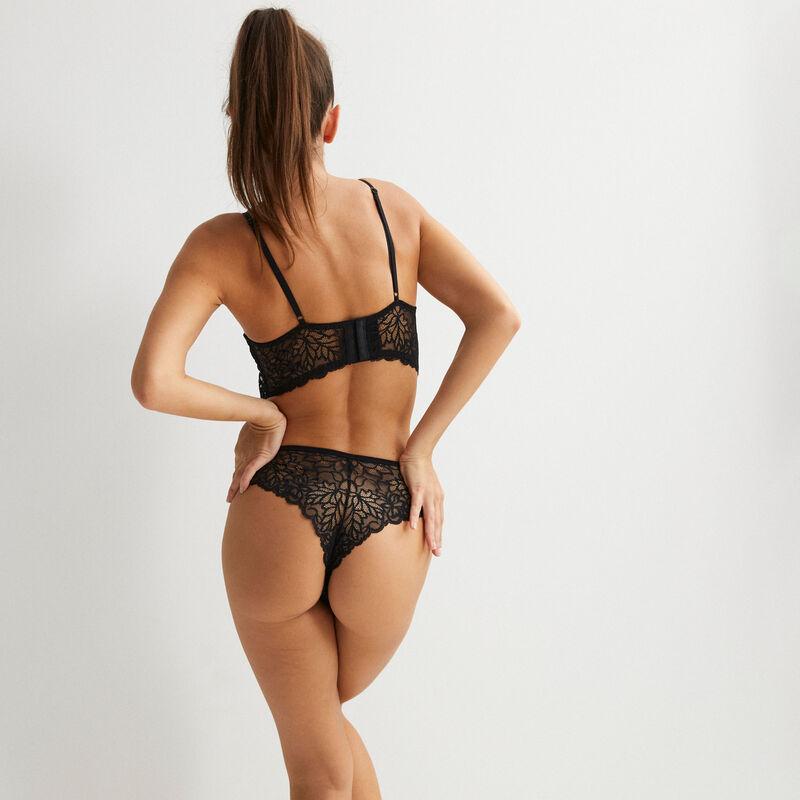 soutien-gorge push-up à lien en dentelle - noir;