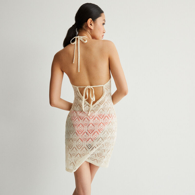 kanten jurk met open rug en striksluiting - ecru;