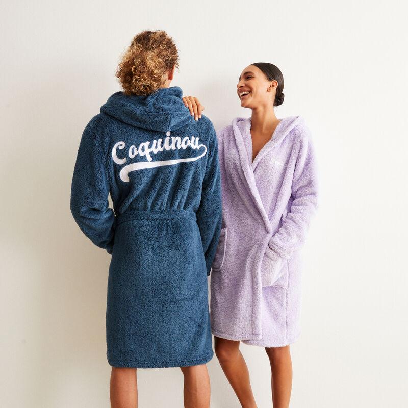 badjas van fleecestof met ondeugende tekst - paars;