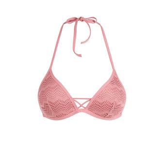 Haut de maillot de bain triangle vieux rose ajouriz pink.