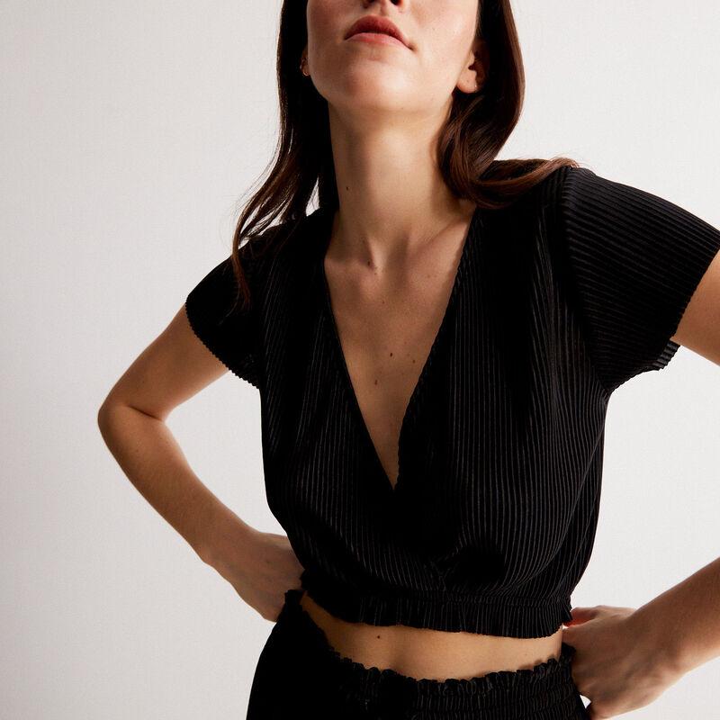 top plissé manches courtes cache-coeur - noir;