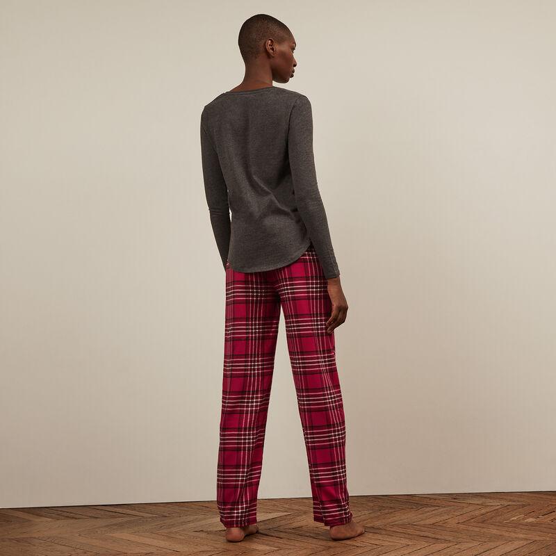 Pantalon à carreaux - rouge;