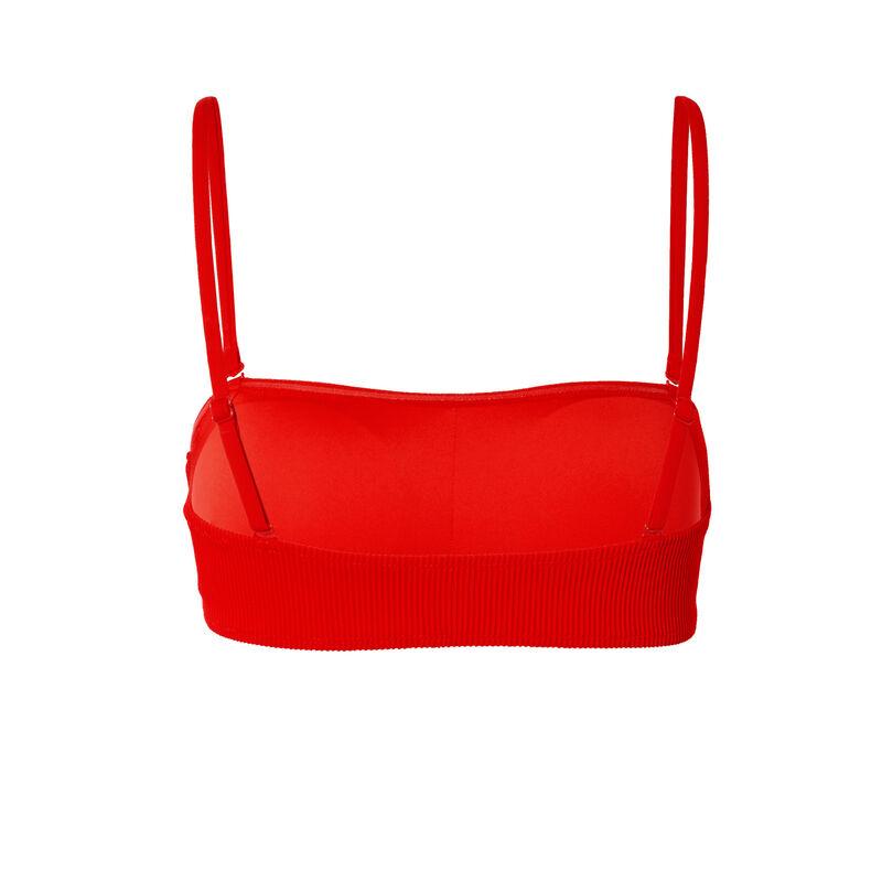 bikinitopje in bandeau-vorm met wafelstructuur - rood;