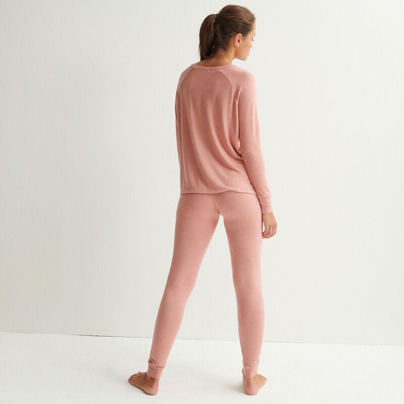 gebreide top met lange mouwen - nude roze;