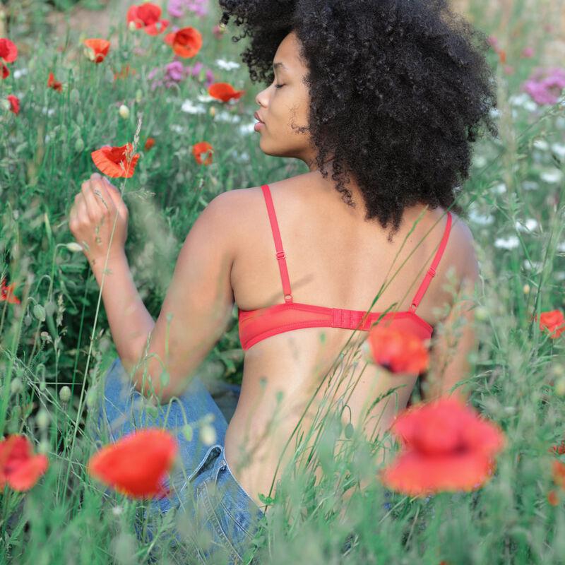 fleurige kanten push-up beha - rood;