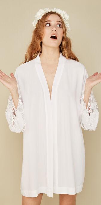 Kimono blanc cassé kimocrochiz  white.