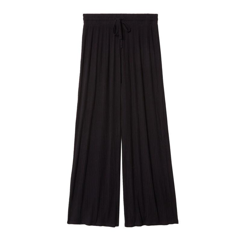 Uitlopende gebreide broek - zwart;