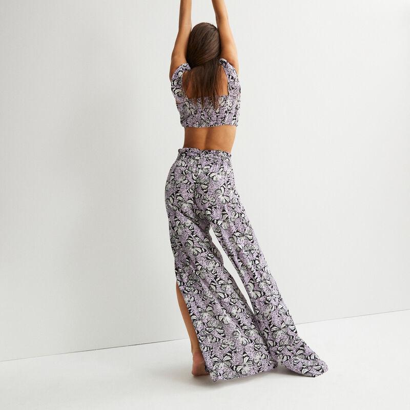 lange broek met split en vlinderprint - paars;