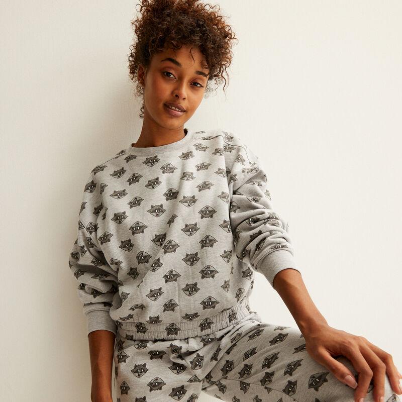 fleece sweater met Meeko patroon - grijs;