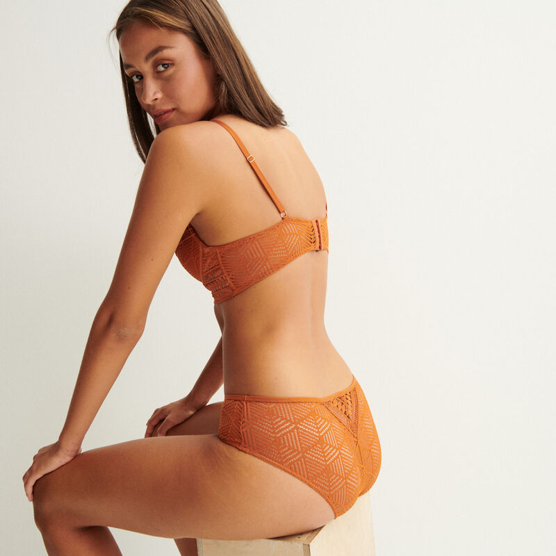 beha push-up bustier details gouden parels - camel;
